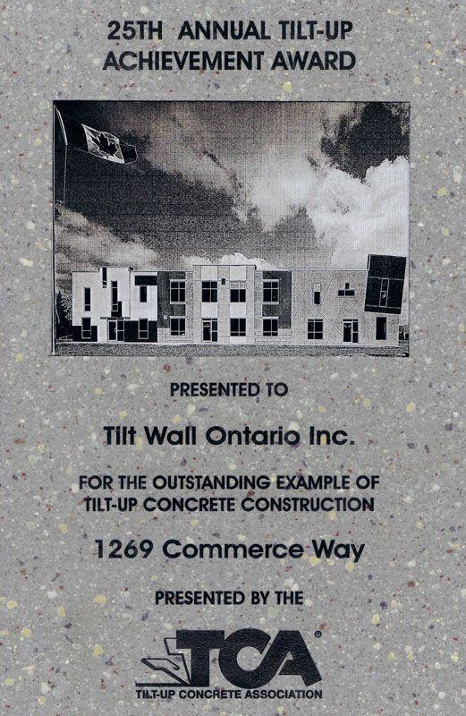 Tiltwall - Tilt-Up Achievement Award 2015- Tiltwall Office Woodstock